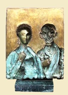 """Pompeii Couple Ernesto Montenegro 15.5 """" x 12.5"""" Bronze"""