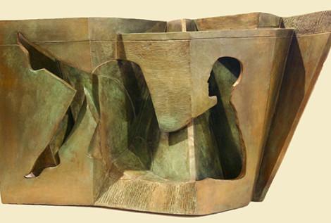 "Reclining Shadow I Ernesto Montenegro 17 "" x 22"" x 12"" Bronze"