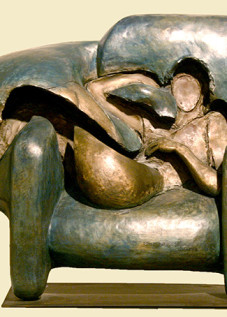 "Woman in Chair Ernesto Montenegro 16"" x 20"" x 7.5"" Bronze"