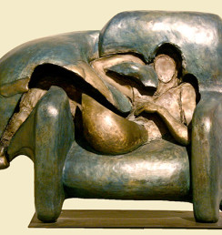 "Woman in Chair Ernesto Montenegro 16"" x 20"" x 7.5"" Bronze"